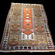 "SALE 1960's Turkish rug 3' 6"" x 5' 6"" Free shipping & appraisal"