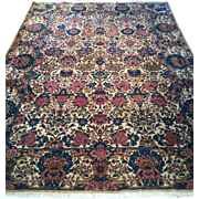SALE Beautiful Antique ca. 1880, LAVAR KERMAN Persian Oriental Rug, Hand knotted Wool with ...