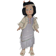 Girl Doll 11 Inch Le Madelon Composition Doll, 1953 Native American in Leather Dress
