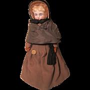 "REDUCED Antique Blonde 14"" China Shoulderhead Doll All Original W / Quaker Clothing 1879"