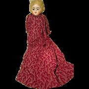 German Wax Over Paper Mache Doll Glass Eyes Primitive Body