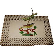 SOLD Delightful Mid 19th Century Hand Painted Perforated Card Needle Case