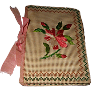 Pretty 19th century Embroidered Bristol Board Needle Case