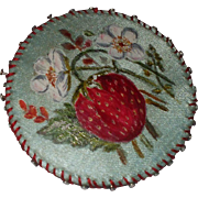 SOLD A pretty  Victorian Hand Painted Strawberry Pin cushion