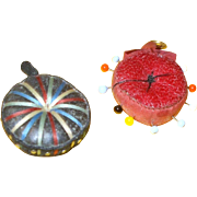 Pair of Victorian leather Pin Cushions