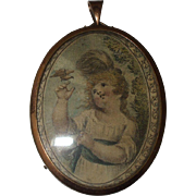 Delightful Regency Small Print Of Young Girl With A Bird In Gilt Frame