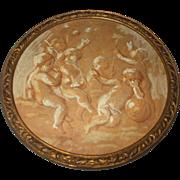 A Delightful Small Georgian Water Colour of Putti In A Bronze Frame