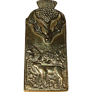 A Good Quality Early 20th Century Brass Letter Clip with Thistle and Deer