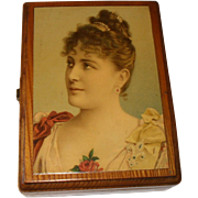 An attractive late 19thc  box with a picture of Lily Langtry