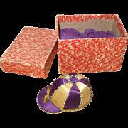 Unusual 19th Century Silk Jockey Cap Pincushion + Original Box - Earl of Aylesford's Colours