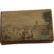Rare Le Blond Needle Box with print of Venice C1850
