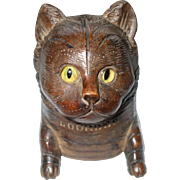 A Cute Antique Wooden Cat Ink Well Circa 1900