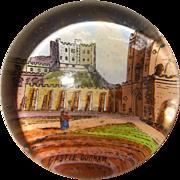 Super Little Victorian Glass Paper Weight Showing Durham Castle, England