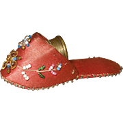SOLD A Delightful Victorian Silk and Bead Work thimble Shoe and Thimble