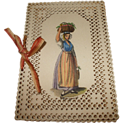 SOLD An Unusual Perforated Card and Painted Needle Case Circa 1830's