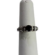 SALE 14 Karat White Gold and Sapphire Ring with Marquis Side Diamonds 0.85 Carat ...