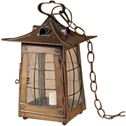 An Arts & Crafts Period Patinated Copper Hanging Lantern