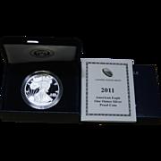 2011-W American Silver Eagle Proof Coin, Original Box & COA