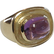14k Yellow Gold Amethyst Cabochon Ring~ Size 6
