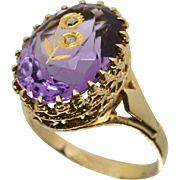 14k Yellow Gold Amethyst Ring with Gold Flower & Diamond ~Size 10.5