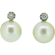 Surprising Mabé cultured pearls and diamonds French earrings, 18kt white gold