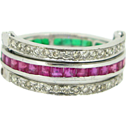 Unique eternity ring : emeralds, rubies, and diamonds, 9kt gold