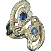 REDUCED A stunning French two snakes crossover ring with sapphire and diamond, c.1880, ...