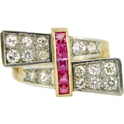 Stunning French Retro ring, rubies and diamonds, platinum and 18kt gold, c. 1940