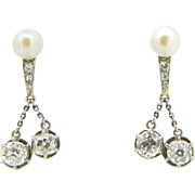 Stunning French Art Déco diamonds and pearls earrings, 18kt gold and platinum, c. 1930