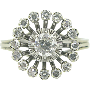 Stunning French Vintage Diamonds ring, 18kt gold and platinum, 1960