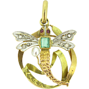 Graceful Dragonfly Art Nouveau pendant, 18kt gold and platinum, c,1900