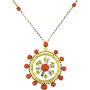 """Lovely Antique French Coral Necklace and pendant - 27,5"""" - 18kt and 9kt gold - c.1910"""