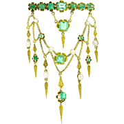 Stunning Victorian Emeralds brooch with Festoon , 18kt yellow gold, c.1860