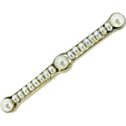 Antique Art Deco pearls barrette brooch, 18kt gold and platinum, c.1920