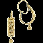 Lovely Antique French Dormeuses earrings, 18kt gold, c.1880