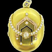 Stunning Victorian Locket, 14kt gold, enamel, pearl and diamonds, c.1880