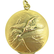 Art Nouveau 18kt gold French locket ~ Storks  c.1905