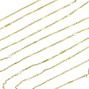 Delicate French long chain with pearls, 63 inches, 18kt gold, late 19th