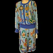 SALE 1960's NWT'S Castleberry London 2-pc set Skirt / Blouse Timepiece Motif Multicolored