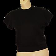 SALE 1980's St. John Separates Black Cardigan sweater size S Short sleeves crew neck ...