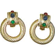 Vintage  1970's signed GiO Doorknocker Clip earrings Twisted hoops Multi-colored Glass ...