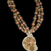 SALE Vintage Large Ammonite Fossil pendant necklace .925 Nautilus Iolite Toumaline beads Multi