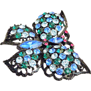 SALE Vintage unsigned Weiss butterfly brooch Multicolored Rhinestones Japanned 1940's-50's