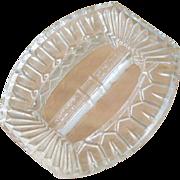 SALE Vintage Art Deco Czechoslovakia Clear Cut Glass belt buckle signed
