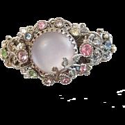Vintage signed Selro Corp Clamper cuff bracelet Pastel Rhinestones filigree lucite