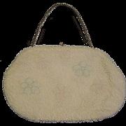 SALE Vintage Beaded clutch bridal evening bag Pastels colors Floral design Japan