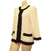 St. John zip-front Jacket sz. 14 Ivory color black Fringed by Marie Gray