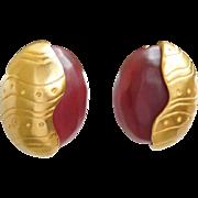 SALE Vintage Karl Lagerfeld earrings Cherry Red Resin facet cabochon Goldtone