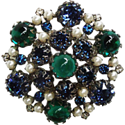 Vintage Schreiner rhinestone Pendant / brooch pin faux pearls green cabochons blue clear stone