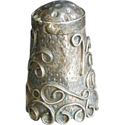 "SALE Vintage signed Mexico Silver Thimble Raised ornate motif 1"" x 5/8"""